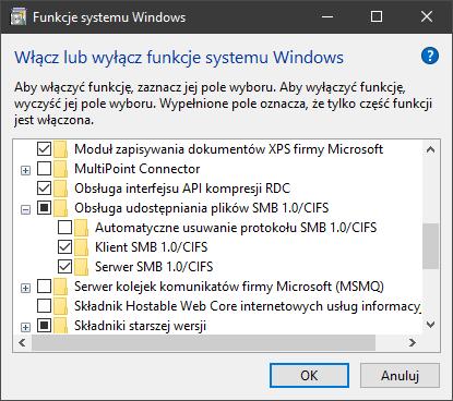 Obsługa udostępniania plików SMB 1.0 CIFS